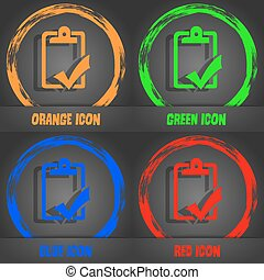 Document grammar control, Test, work complete icon. Fashionable modern style. In the orange, green, blue, red design. Vector