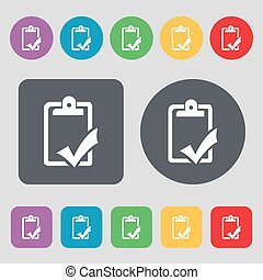 Document grammar control, Test, work complete icon sign. A set of 12 colored buttons. Flat design. Vector