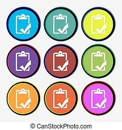 Document grammar control, Test, work complete icon sign. Nine multi colored round buttons. Vector