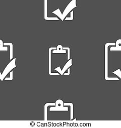 Document grammar control, Test, work complete icon sign. Seamless pattern on a gray background. Vector
