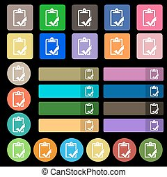 Document grammar control, Test, work complete icon sign. Set from twenty seven multicolored flat buttons. Vector