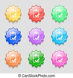 Document grammar control, Test, work complete icon sign. symbol on nine wavy colourful buttons. Vector