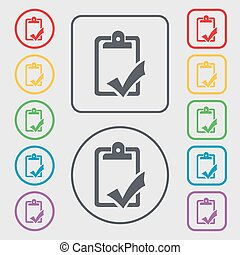 Document grammar control, Test, work complete icon sign. symbol on the Round and square buttons with frame. Vector