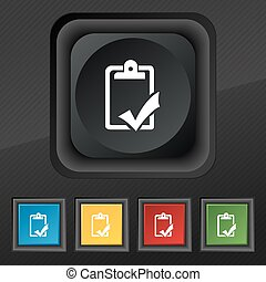 Document grammar control, Test, work complete icon symbol. Set of five colorful, stylish buttons on black texture for your design. Vector