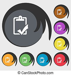 Document grammar control, Test, work complete sign icon. Symbols on eight colored buttons. Vector