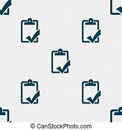Document grammar control, Test, work complete icon sign. Seamless pattern with geometric texture. Vector