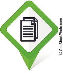 Document green square pointer vector icon in eps 10 on white background with shadow.