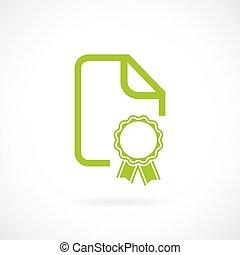document, groene, certificaat, pictogram
