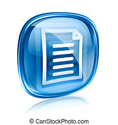 Document icon blue glass, isolated on white background