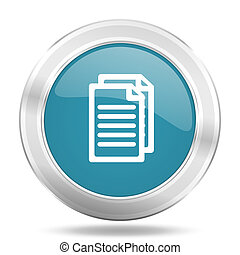document icon, blue round glossy metallic button, web and mobile app design illustration