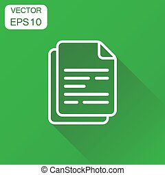 Document icon. Business concept paper sheet pictogram. Vector illustration on green background with long shadow.
