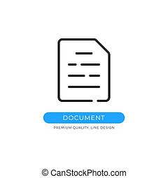 Document icon. File, report, PDF, contract concepts. Premium quality graphic design element. Modern sign, linear pictogram, outline symbol, simple vector thin line icon