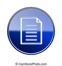 Document icon glossy blue, isolated on white background