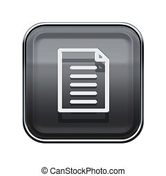 Document icon glossy grey, isolated on white background