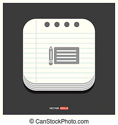 Document Icon Gray icon on Notepad Style template Vector EPS 10 Free Icon