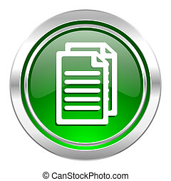 document icon, green button, pages sign