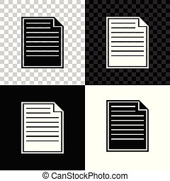 Document icon isolated on black, white and transparent background. File icon. Checklist icon. Business concept. Vector Illustration