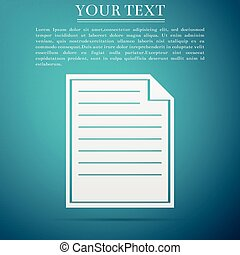 Document icon isolated on blue background. Flat design. Vector Illustration