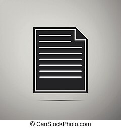 Document icon isolated on grey background. Flat design. Vector Illustration
