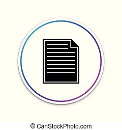 Document icon isolated on white background. Checklist icon. Business concept. Circle white button. Vector Illustration