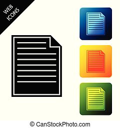 Document icon isolated on white background. File icon. Checklist icon. Business concept. Set icons colorful square buttons. Vector Illustration