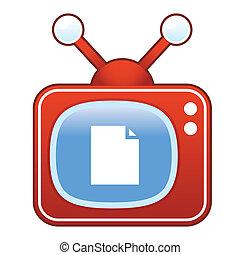 Document icon on retro television