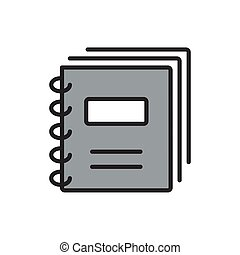 Document Icon on Square Black Internet Button Original Illustration.