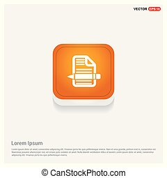 Document Icon Orange Abstract Web Button