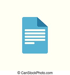 Document icon, paper sign. File symbol. Vector illustration. Flat design.