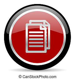 red glossy web button on white background