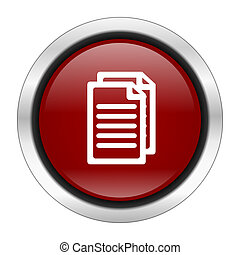 document icon, red round button isolated on white background, web design illustration