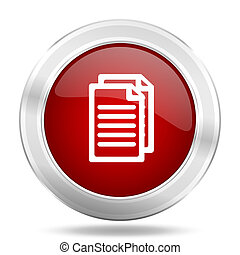 document icon, red round glossy metallic button, web and mobile app design illustration