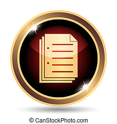 Document icon. Internet button on white background.
