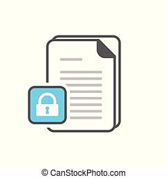 Document icon with padlock sign. Document icon and security, protection, privacy symbol