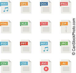 Document icons. File formats. Flat design. Vector icons set isolated on white background