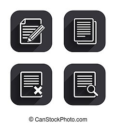 Document icons. Search, delete and edit file.