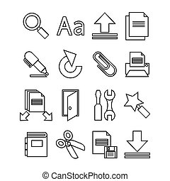 Document icons set. Trendy flat style for graphic design, web-site. Stock Vector illustration.
