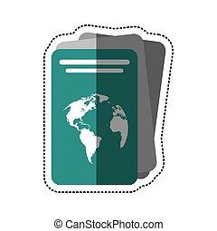 document, identification, dessin animé, passeport, icône