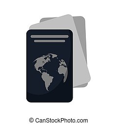 document, identification, passeport, icône