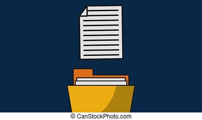 Document inside folder HD - Document and folder over blue...