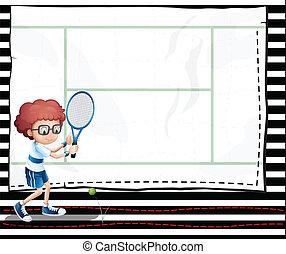 document jongen, beeld, tennis, spelend