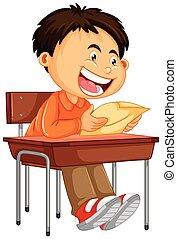 document jongen, lezende