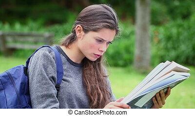 document, lecture, femme, sérieux, jeune