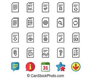 document, ligne, icons., rapport, liste contrôle, et, copy.