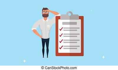 document, liste contrôle, jeune, homme affaires