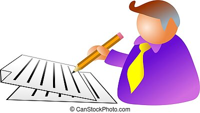 document man - business man signing a document - icon people...