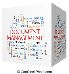 Document Management 3D cube Word Cloud Concept with great...