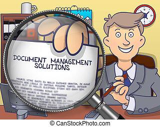 Document Management Solutions through Magnifier. Doodle Concept.