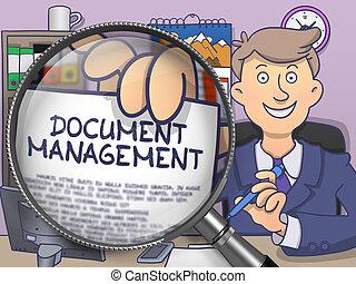 Document Management through Magnifier. Doodle Concept.