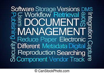 document, management, woord, wolk